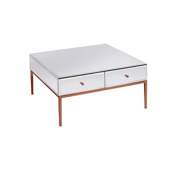 White Glass And Rose Gold Coffee Table