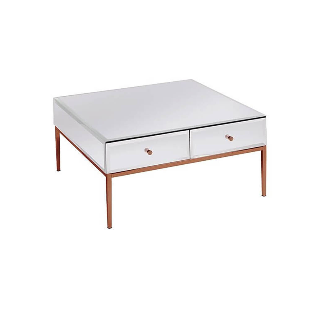 White Glass And Rose Gold Coffee Table By I Love Retro