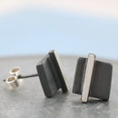 Black and Silver stud earrings