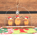 Trio Of Highland Cow Coo's In Christmas Hats Decoration