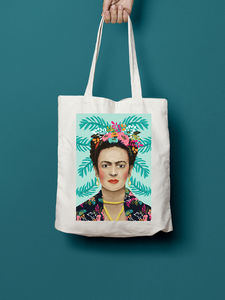 Frida Kahlo Portrait Illustration Tote Bag