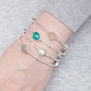Silver Stackable Bangle With Semi Precious Set Stones