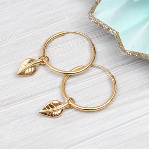 Gold Hoop And Leaf Charm Earrings