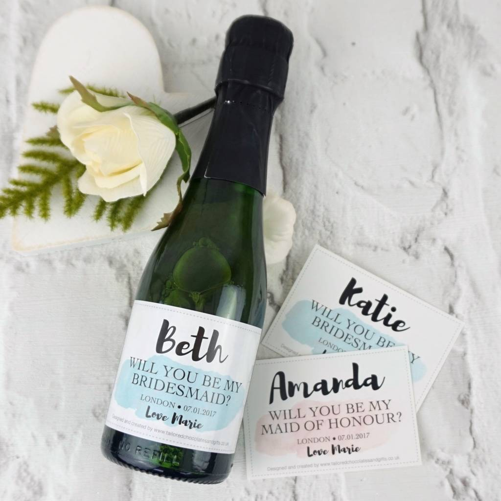 Will You Be My Bridesmaid Mini Champagne Label