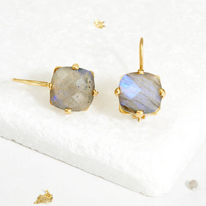 Square Labradorite Drop Earrings - earrings