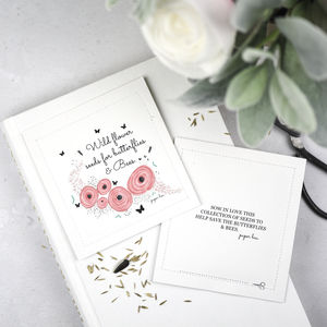 Peony Pink Wild Flower Seed Packet Favours