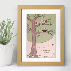 Personalised Birdie Family Tree Print - children's room