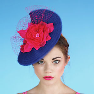 Navy Wedding And Races Hat 'Mademoiselle Butterfly' - hats & fascinators