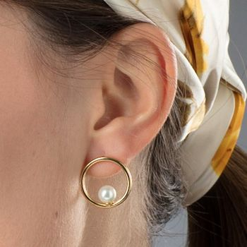 Venus Pearl Hoop Earrings