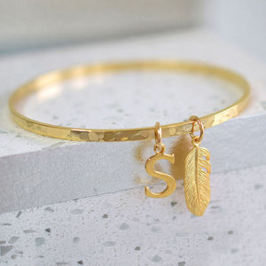 Hammered Gold Bangle - personalised gifts for mothers