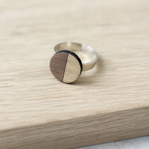 Wooden Half Circle Ring - rings
