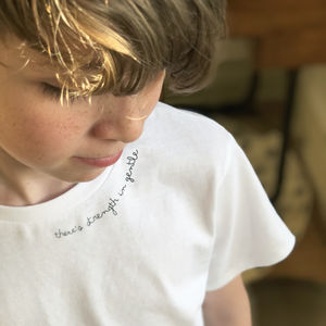 Children's White Subtle Slogan T Shirt