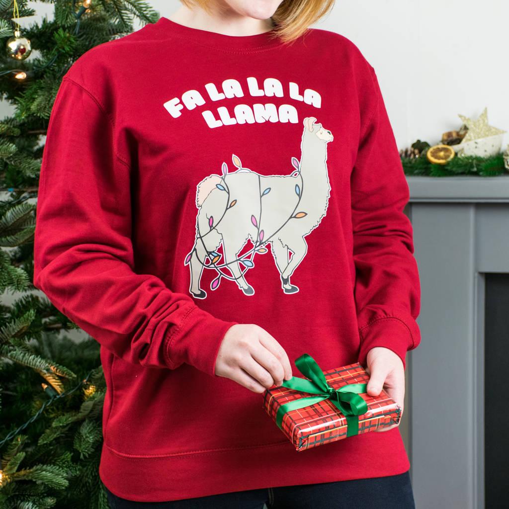 Llama Christmas.Fa La La La Llama Christmas Sweatshirt