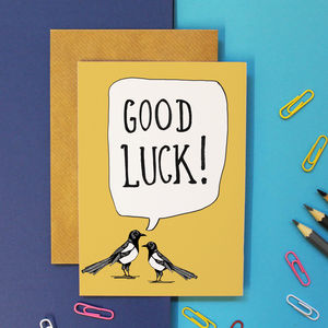 Magpie Good Luck Card - good luck cards