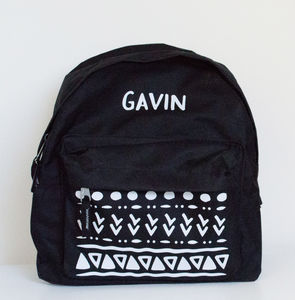 Personalised Monochrome Tribal Print Childrens Backpack