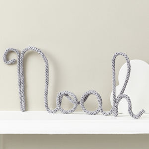 Personalised Pale Grey Name Sign Knitted And Wire