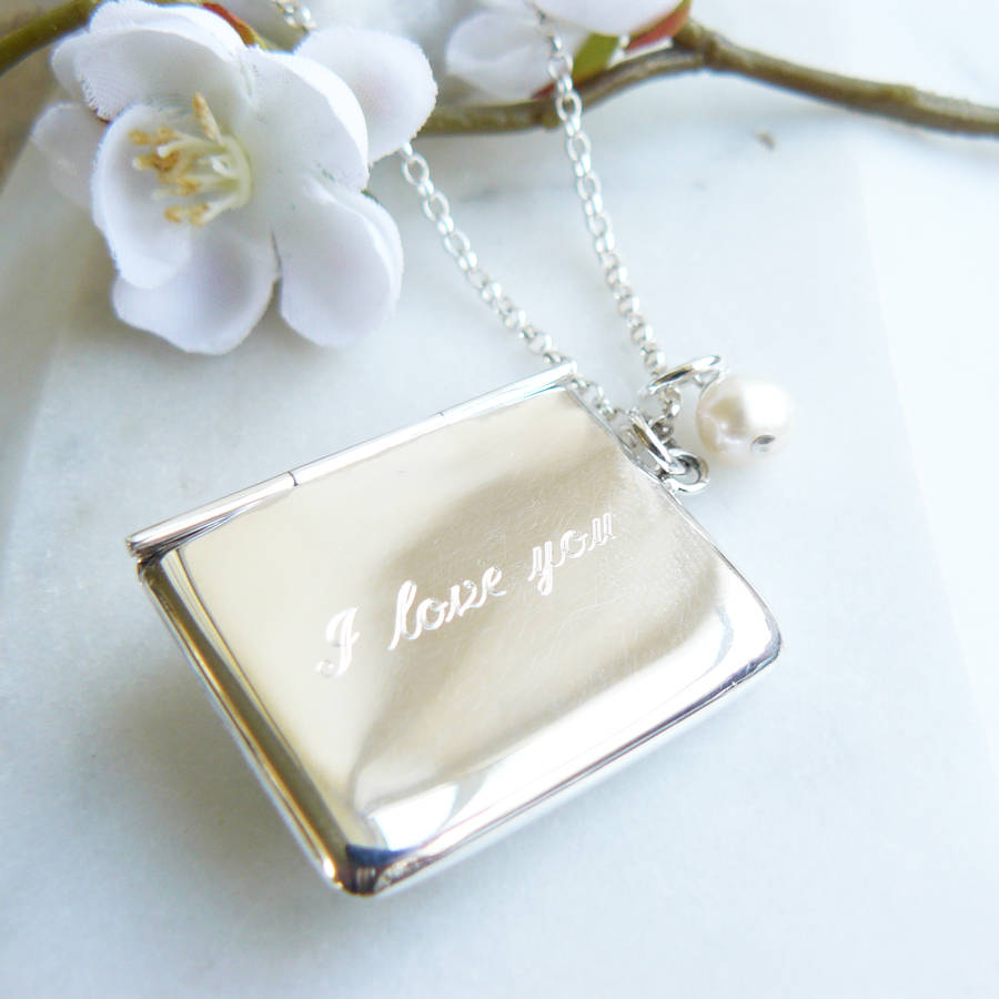 bling pendant locket lockets jewelry pmr necklace love you silver letter envelope i
