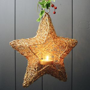 Gold Wire Star Lantern - lights & lanterns