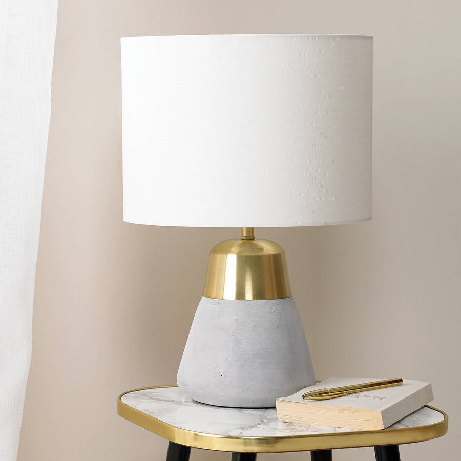 Concrete And Gold Table Lamp By Primrose Plum