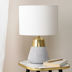 Concrete And Gold Table Lamp - bedside lamps