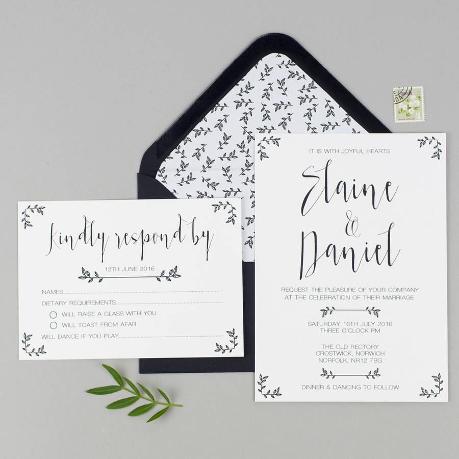 modest love wedding invitation and rsvp