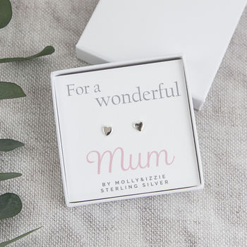 Sterling Silver Heart Earrings In Gift Box For Mum