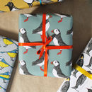 Coordinating Puffin gift wrap