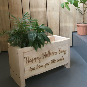 Personalised Chunky Spruce Engraved Planter Box - mum loves gardening