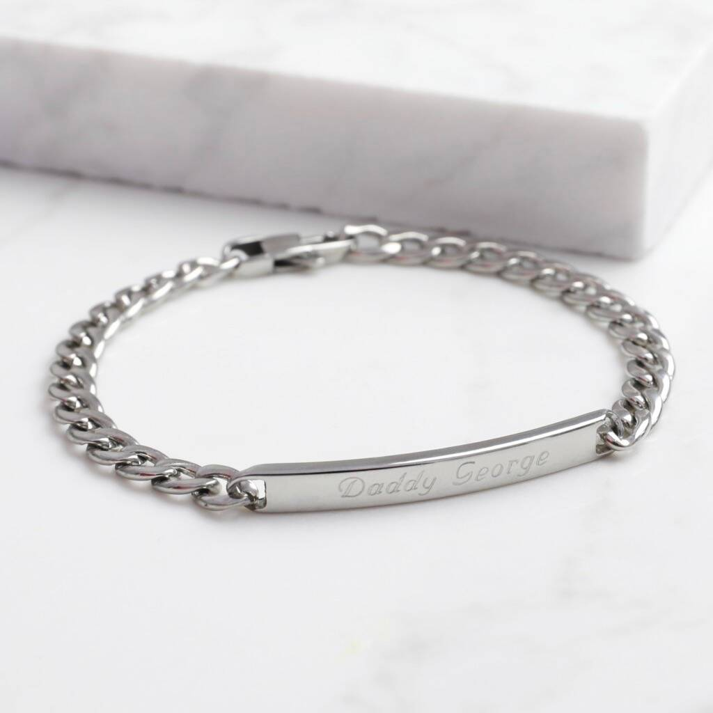 Personalised Men's Stainless Steel Plaque Bracelet by Lisa Angel