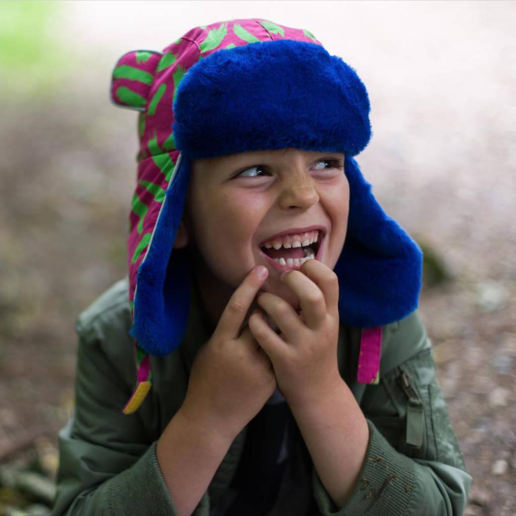 087109cf5dbe5c Child Wearing Little Hotdog Watson Kids Winter Hat Arctic Cub in Tiger Pink