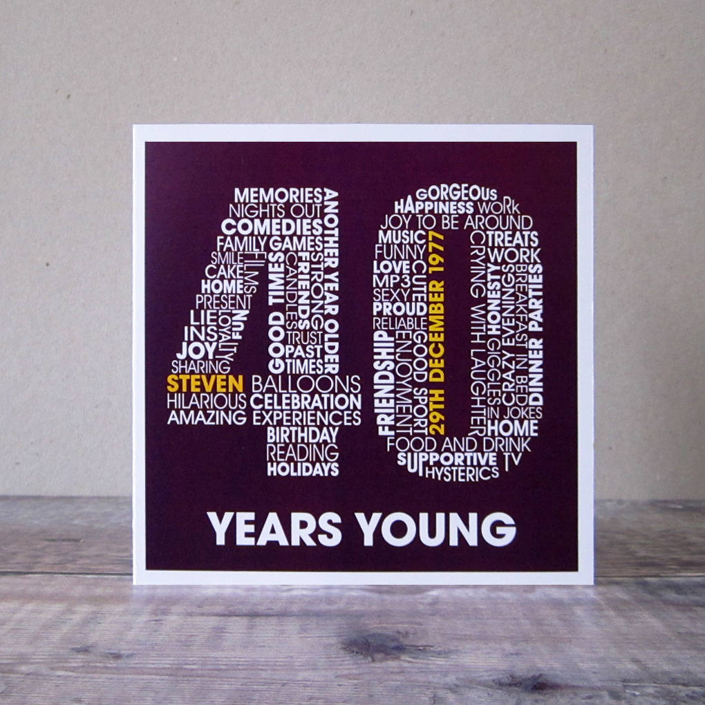 personalised 40th birthday card by mrs l cards – Personalised 40th Birthday Cards for Men