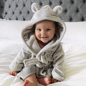 Personalised Soft Baby Grey Dressing Gown With Ears