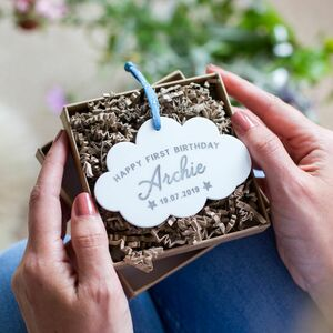 Personalised First Birthday Cloud Keepsake Decoration