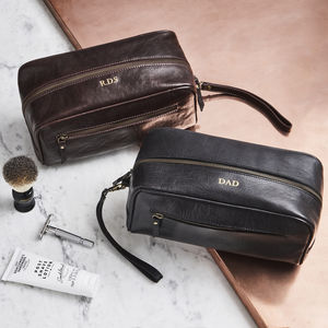 Mens Leather Wash Bag - personalised gifts