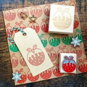 Christmas Pudding Rubber Stamp