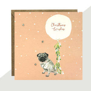 'Pug' Christmas Card Pack Of Five Or Single