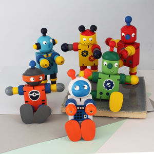 Set Of Four Wooden Retro Flexible Robot