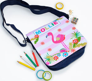Girls Personalised Flamingo Denim Bag