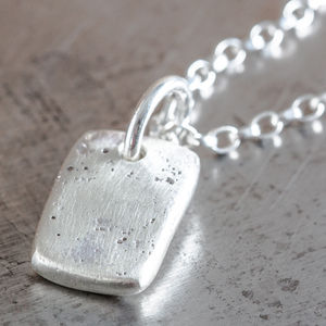 Personalised Small Rectangle Charm Necklace