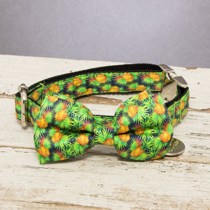 The Alderley Green Pineapple Dog Collar Bow Tie - dogs