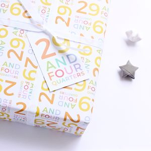 30th Birthday '29 And Four Quarters' Wrapping Paper Set - shop by category