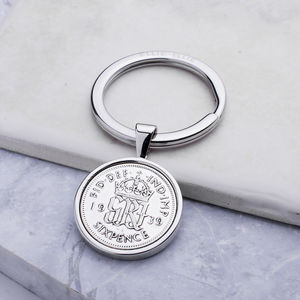 80th Birthday 1939 Sixpence Coin Keyring