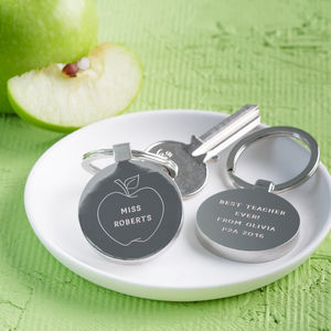 Personalised Thank You Teacher Apple Keyring - gifts for teachers