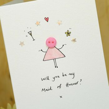 Maid Of Honour/Bridesmaid/Flower Girl Handmade Card