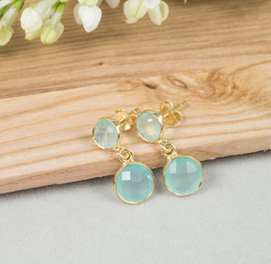 Gemstone And Gold Drop Earrings