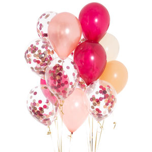 Pack Of 14 Berry Blush Confetti Balloons - room decorations