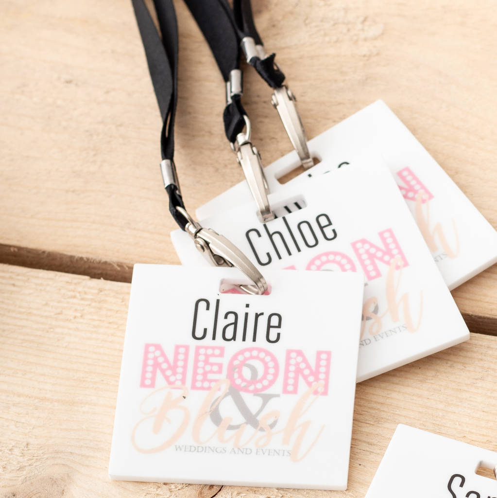 custom printed white acrylic branded event lanyards by funky laser ... 5d475de95