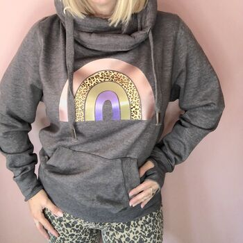 Dark Grey Cowl Neck Rainbow Hoodie