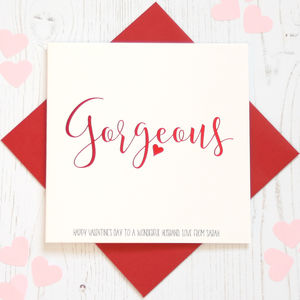 Personalised Red Foil 'Gorgeous' Card