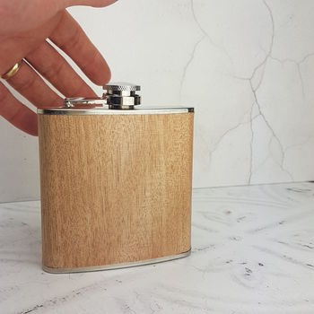 Pale Wooden Hip Flask With Personalised Lid